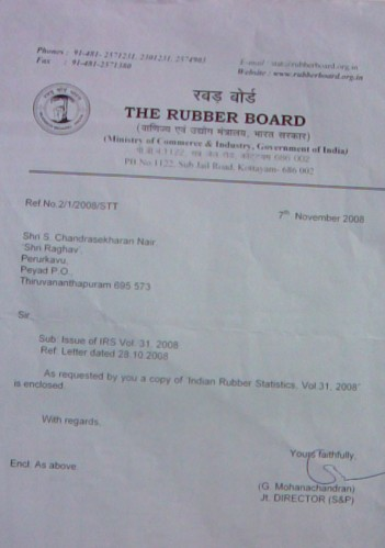 Ref.No.2/2008/STT dated 7th November 2008 of Indian Rubber Board